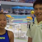 50m・100m平泳ぎ女子中国地域学童記録 稲垣杏奈選手と別府コーチ